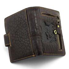 Men Wolf Vintage Natural Genuine Leather Zipper Bifold Wallet Credit Card Holder