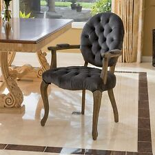 Traditional Rustic Design Charcoal Velvet Arm Dining Chair