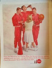 1963 Coca-Cola soda glass bottles boys basketball practice red warm up suits ad