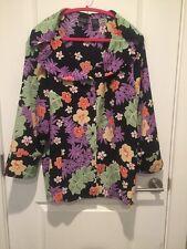 Laura Scott Woman Brand PLUS Size 26W Floral Button Down Career Blouse Tropical