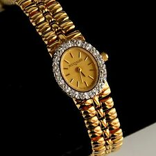 Wittnauer TW1778 5120 Diamond Bezel Gold Tone Swiss Quartz Ladies Watch Fit 7.5""