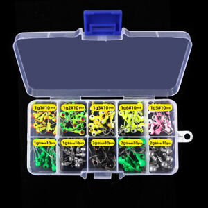 100PCS/Pack Lead Jig Heads Fishing Hooks Crappie Lure Bait Tackle Jigs 8colors