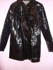 Vintage Marron 60S/70S PVC Vinyle Plastique Belted Pluie MAC Manteau Imperméable Veste Mod