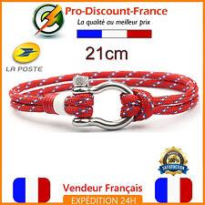 Bracelet Fer à Cheval Manille Inox Survie Marine Paracorde Rouge Corde Bijoux
