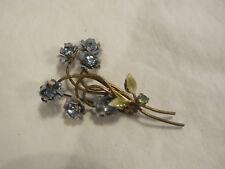 Beautiful Brooch Pin Gold Tone Flower Blue Green Enamel Rhinestones 2 3/8 x 1.5