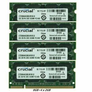 Memory RAM FR Crucial 2GB 2GBX2 2GBX4 DDR2 PC2-6400S 800MHz 200Pin Laptop SODIMM