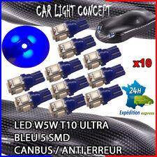 10 x ampoule 5 smd Veilleuse LED W5W T10 ULTRA BLEU XENON 6500k voiture moto