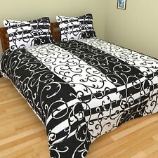 Black & White 200 TC Cotton Double Bed Sheet with 2 Pillow Covers Set