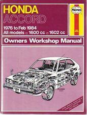 Honda Accord 1600 1602cc Haynes Workshop Manual 1976- Feb 1984 UK & USA models