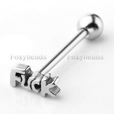 1X Unisex Stainless Steel 14G Word Ball Barbell Tongue Ring Stud Piercing M*
