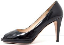 PRADA Patent Leather Peep Toe Heels Pumps Black SIZE 38.5 / US 8 - 8.5