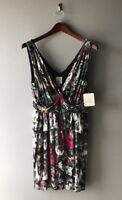 W Julienne Multi Color Print Dress Weston Wear Medium Ruffle Trim New NWT
