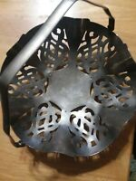Vintage Metal Footed Basket With Handle. Easter Egg Basket