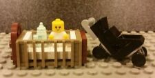 Lego NEW Baby Minifigure With Crib Bottle And Black Stroller
