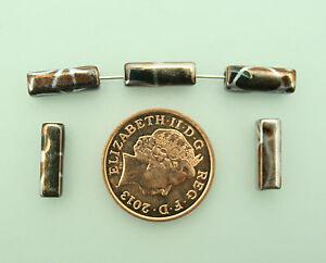 30 Brown/Silver Metallic Rectangular Beads; Size 12 x 4mm