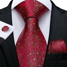 Novelty Red Dots Silk Tie Set Mens Necktie Pocket Square Cufflinks Wedding Gift