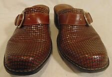 Women's Clarks Artisan Monk Strap Brown Leather Slip-On Mule Sandals 8M