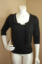ETCETERA Black Twin Set~Knit Tank Top&Chain Detail Crop Cardigan~Size S