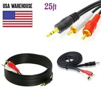 """25ft Audio 3.5mm Male Jack to 2RCA Male Cable 1/8"""" 2 RCA Stereo Aux Y Splitter"""