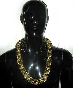 Large Gold Chain Necklace Rapper Pimp Adult Halloween Costume Accessory