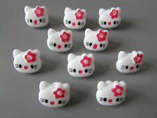 5 Resin Hello Kitty Plastic Shanked Buttons 14mm Cat Faces Sewing Knit Craft UK