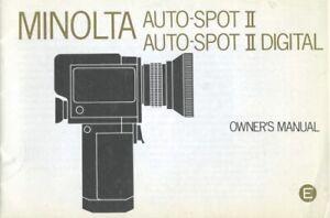 Minolta Auto-Spot II Auto-Spot II Digital Instruction Manual Original