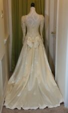 Vtg Wedding Gown Dress 80s ILGWU Off White Satin Train Lace Beaded Sz 8 10