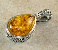 SILVER Vintage Style Yellow Amber Teardrop Pendant Jewelry Woman Gift