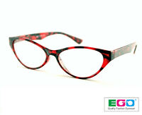 EGO New Classic Cat Eye Style Design RED Tortoise Reading Glasses All strength