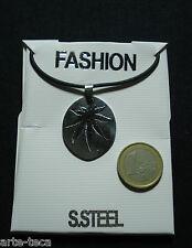 collana foglia di maria catena pendolo uomo donna acciaio chirurgico steel