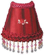 "Victorian Night Light Burgundy Stripe w/ Trim & Hanging Beads 6"" x 6.5"""