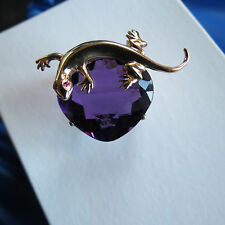 Huge Designer Flawless Natural 35.3 ct Amethyst 14k Gold Lizard pin brooch