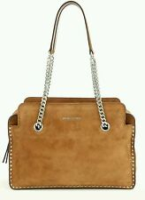 NWT MICHAEL KORS ASTOR Suede Studded Satchel LARGE Leather Dark Caramel $368