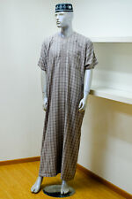 Checkered Men's Short Sleeved Thobe Muslim Jubbah Kaftan Dress