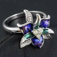 Women Wedding Flower Rings 925 Silver Rings Cut White Sapphire Ring Size 6-10