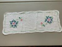 Vintage Table Linen Cloth Runner Hand Embroidered Cross Stitch Blue Pink Green