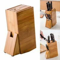 Bamboo Wooden Knife Block Holder Storage Rack Organizer Kitchen Scissors Slot