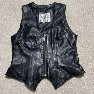 Women Andrew Marc Biker Motorcycle Moto Black Soft Leather Vest Size Medium M