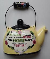 Yellow & Black Kitchen Kettle Wall Pocket California Cleminsons Pottery