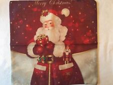 TOSS THROW PILLOW / COVER MERRY CHRISTMAS SANTA Home Decor
