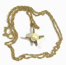 """Sterling silver vermeil pendant with plastic pearl & 18"""" chain B17"""