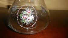 CLEAR GLASS SHADE w/ ROSES on FRONT & SIDES