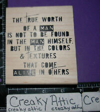 TRUE WORTH OF A MAN ALIVE IN OTHERS RUBBER STAMP STAMPERS ANONYMOUS P1-1933