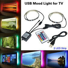 2x TV Back USB 5V LED Strip Light 5050 RGB Mood Light Color Changing Light Kit