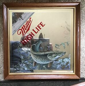 """1994 Miller High Life Beer """"Tip-Up"""" Diamond Beer Mirror Sign Northern Pike Fish"""