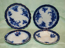 FLOW BLUE ENGLISH CHINA STANLEY POTTERY TOURAINE SAUCER PLATE BERRY BOWLS 1898
