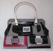 21af2ac78a8 GUESS CALVINA Logo Croco Patent Bag Purse Satchel Handbag Wallet Black  Taupe New