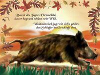 Jagd Romantik pur Keiler flüchtend Jäger Spruch Alu Schild für Freunde der Jagd