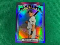 2021 Topps Heritage Chrome Purple Refractors #9 Miguel Rojas Miami Marlins