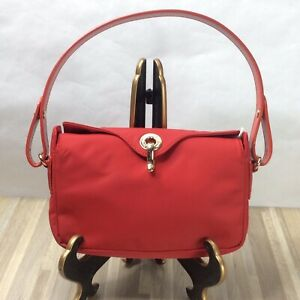 Kate Spade New York Purse Red Nylon Gold Hinge Clasp Adjustable Leather Strap